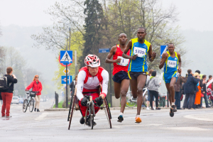 Krakow, Poland - April 28 : Cracovia Marathon.handicapped Man Ma